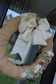 Simple burlap wreath for your door.
