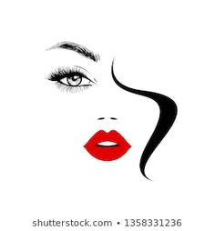 Beautiful Girl Face Red Lips Lush stockvector (rechtenvrij) 1121613893 Beauty Logo, Beauty Art, Beauty Hacks, Icon Girl, Face Stencils, Girl Drawing Sketches, Woman Face, Girl Face, Face Art