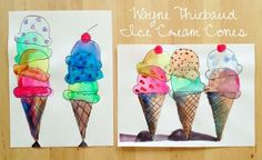 Ice cream cones ~ inspired by Wayne Thiebaud (permanent markers and water colors. - Ice cream cones ~ inspired by Wayne Thiebaud (permanent markers and water colors) - Art Lessons For Kids, Art Lessons Elementary, Art For Kids, Wayne Thiebaud, Middle School Art, Art School, 6th Grade Art, Ecole Art, School Art Projects
