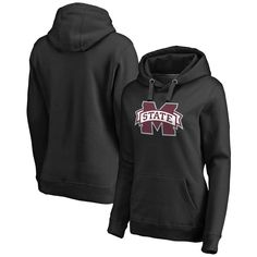 Mississippi State Bulldogs Fanatics Branded Women's Plus Sizes Primary Team Logo Pullover Hoodie - Black