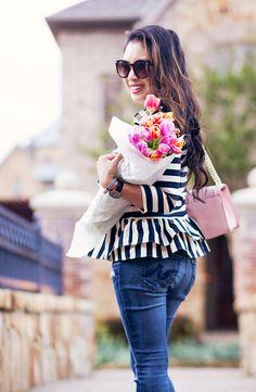 cute & little   dallas petite fashion blog   asymmetrical stripe ruffle pepum top, distressed jeans, steve madden carrson pink velvet strappy sandals, minkoff love crossbody   spring outfit
