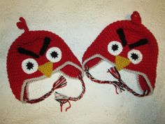 Angry Bird hats - custom knit and crochet items from Not Your Granny's Knitting.