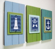 Blue Green and teal wall art, like the colors but not the nautical theme, great idea though