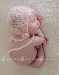 Hand Knitted bonnet for Newborn in Light Pink Mohair by NRBDesigns, $25.00