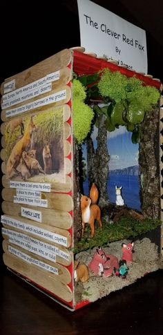 Red Fox Shoebox Diorama #redfox #shoebox #school #diorama Science Fair Projects, School Projects, Red Fox Habitat, Animal Projects, Shoe Box, Diorama, Habitats, North America, Crafts For Kids
