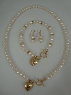 Freshwater Pearl and Gold Rhinestone Set Finished on by annagiles,