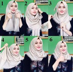 Simple Hijab Styles for School Tutorial Hijab Wisuda, Tutorial Hijab Pashmina, Square Hijab Tutorial, Simple Hijab Tutorial, Hijab Simple, Hijab Style Tutorial, Hijab Casual, Hijab Chic, Hijab Tutorial Segi Empat