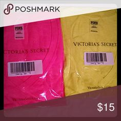 SOLD!!!!New VS Pink v-neck t-shirts New, still in package t-shirts. Hot pink and neon Yellow PINK Victoria's Secret Tops Tees - Short Sleeve