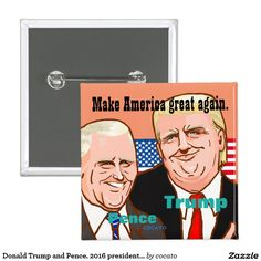 Donald Trump and Pence. 2016 presidential election 5.1cm 正方形バッジ
