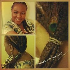 Protective style with hair extension braids.