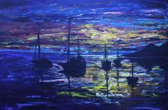 Buy In For The Night, Painting by Morphd MoHawk on Artfinder. Mike Montgomery, Water Reflections, Beautiful Ocean, Paintings For Sale, Amazing Art, The Good Place, Places To Go, Fine Art, Sunset