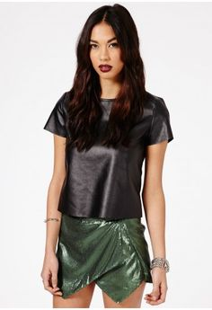 sequin + leather