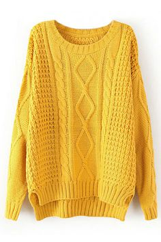 ROMWE | Asymmetric Twisted Yellow Jumper, The Latest Street Fashion