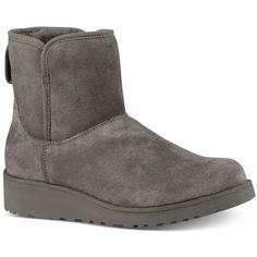 Ugg Kristin Short Boots ($150) ❤ liked on Polyvore featuring shoes, boots, ankle booties, grey, gray ankle booties, grey booties, bootie boots, ugg booties and gray boots