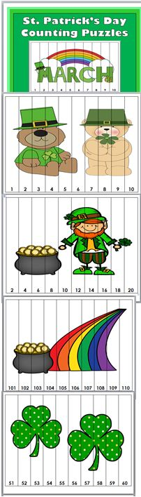 St Patrick's Day Counting Puzzles. Could do this for call numbers and author names