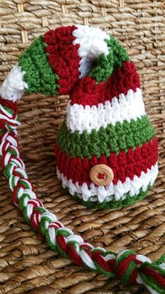 Check out this item in my Etsy shop https://www.etsy.com/listing/249659704/crochet-christmas-baby-elf-hat-red-white
