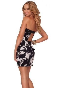 Strapless Padded Sweetheart Style Backless Strap Band Floral Peplum Mini Dress