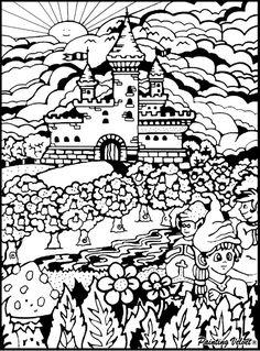 Disegno da colorare in velluto e cartoncino con pennarelli: castello