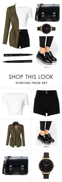 """""""Untitled #99"""" by lastfatima ❤ liked on Polyvore featuring Rosetta Getty, River Island, LE3NO, New Look, Dr. Martens, Olivia Burton and Bobbi Brown Cosmetics"""