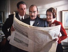 Agatha Christie's Poirot, has been hugely popular as a tv series in the uk. Picture shows Hastings, and Poirot's secretary, Miss Felicity Lemon. Hercule Poirot, Agatha Christie's Poirot, Best Mysteries, Murder Mysteries, Pauline Moran, Death In The Clouds, David Suchet, Crime, Tv Detectives