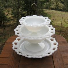 Trio of Milk Glass With Open Lace By Anchor by oakhillvintage, $26.00