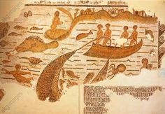 Mosaic of net fishing and octopus fishing, from Sidi Abdallah (Tunisia), Century Ancient Rome, Ancient Art, Mosaic Art, Mosaic Tiles, Fish Monger, Roman Food, Art Antique, Fish Art, Romans