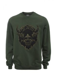 Khaki Applique and Embroidered Bison Judd Sweatshirt - Men