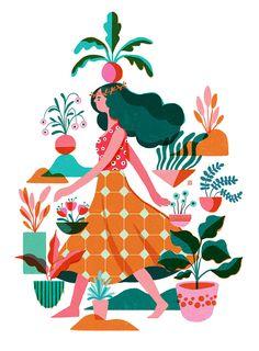 garden illustration Garden Ladies on Behance Art And Illustration, People Illustration, Character Illustration, Graphic Design Illustration, Art Graphique, Wallpaper, Character Design, Creations, Drawings