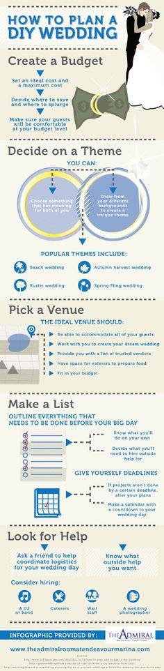 Planning a DIY wedding may seem like a challenge, but it doesn't have to be! All you need is a little organization and the tips in this infographic