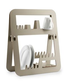Designed by Barcelona-based Ernest Perera for Delica, the Aurea is a solid, space-saving dish rack for drying out your kitchen dishes. I love the simple, stylish design of this melamine resin drainer,. 3d Design, Regal Design, Rack Design, Tool Design, Modern Design, Graphic Design, Dish Drainers, Cnc Projects, Woodworking Projects