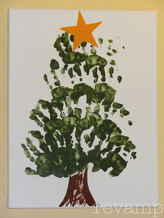 Handprint Christmas Tree -- Add a garland of glitter glue. Glue on plastic craft circles or puff balls for ornaments.