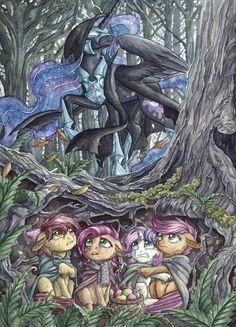 Lord of the Rings & My Little Pony My Little Pony Cartoon, My Little Pony Drawing, My Little Pony Pictures, Unicornios Wallpaper, Nightmare Moon, Little Poni, Mlp Fan Art, Mlp Comics, Imagenes My Little Pony