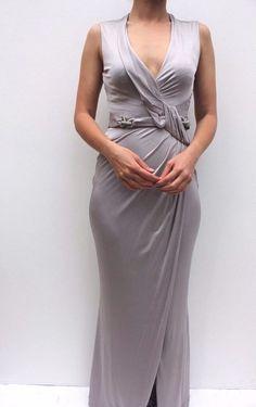 3bcc24dfba3 Details about Karen Millen Silver Chain Jersey Drape Wedding Party Maxi  Dress 6 34 8 36