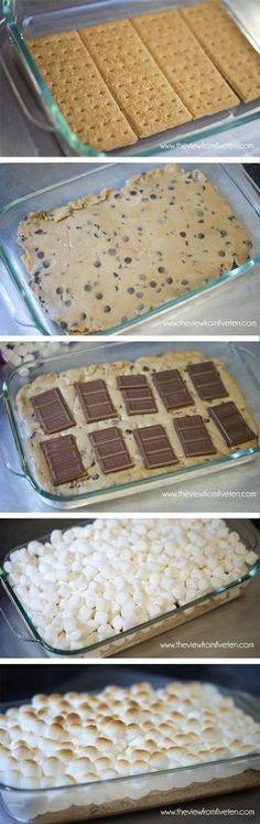 Easy S'mores Chocolate Chip Cookie Bars I make these with the cookie on the bottom, crushed graham cracker, and chocolate chips instead of chocolate bars (they're cheaper). Altogether that makes it easier to bite into. :)