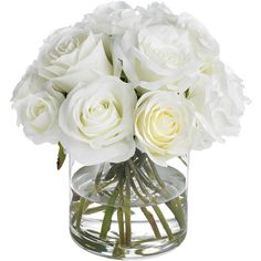 Diane James White Roses ($442) ❤ liked on Polyvore featuring home, home decor, floral decor, flowers, decor, plants, filler, floral bouquets, flower stem and rose bouquets
