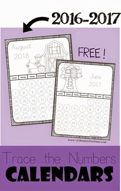FREE Trace the Numbers Printable Calendar 2016-2017 - These calendar pages are GREAT for Toddler, Preschool, Kindergarten, first grade, second grade and more to learn about months, days of the week, counting, writing numbers, and more. Perfect for homeschooling, homework, and more!