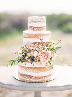 Wedding Cakes Naked Wedding Cake with Pink Flowers and Greenery. A country-chic naked wedding cake by Sprinkle Wedding Cake Photos, Wedding Cake Rustic, Rustic Cake, Cake Wedding, Wedding Country, Wedding Cake Flowers, Floral Wedding, Boho Wedding, Wedding Vows