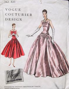 Vintage Original Vogue Couturier Design Evening Dress Pattern No. Vintage Vogue Patterns, Vogue Sewing Patterns, Clothing Patterns, Vogue Dress Patterns, Vintage Outfits, Vintage Dresses, 1950s Dresses, Retro Fashion, Vintage Fashion