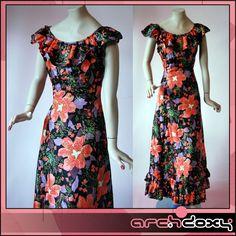 Vintage Frilled Bohemian Satin Printed 'A' Line Margo Abigail Party Dress #vintage #boho  http://www.ebay.co.uk/itm/Vintage-Frilled-Bohemian-Satin-Printed-A-Line-Margo-Abigail-Party-Dress-UK12-/371594685976?ssPageName=STRK:MESE:IT