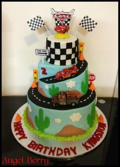 Cars cake - @Erinn Miller - I'm pinning car cakes because of your anniversary. :)