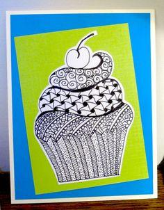 Blank Cupcake Zentangle Card