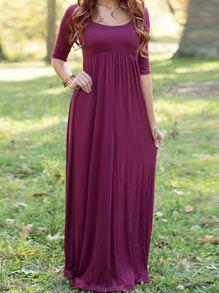 Burgundy Scoop Neck Cut Out Back Maxi Dress