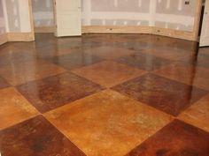 large square concrete stain