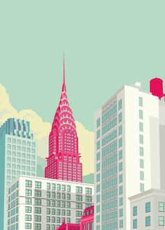 Remko Heemskerk :: Colorful New York City Illustrations - Chrysler building New York Illustration, Building Illustration, Illustration Example, Simple Illustration, Poster Design, Design Art, Graphic Design, Grid Design, Print Poster