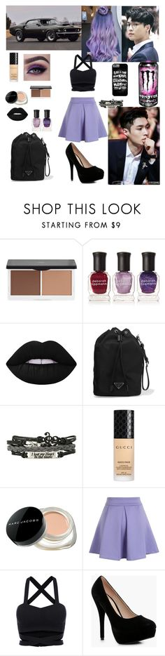 """""""Car meet with Lay (Yixing of EXO)"""" by mimiisabooknerd ❤ liked on Polyvore featuring Hot Topic, Lily Lolo, Deborah Lippmann, Lime Crime, Prada, Gucci, Marc Jacobs, Chicwish and Boohoo"""