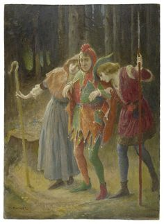 Rosalind and Celia leaning their heads on Touchstone's shoulders. As You Like It, Act II, Scene IV. Oil painting. Charles A. Buchel. Early 20th century. #FolgerLibrary