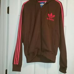 ADIDAS pink & brown hoodie sz M Excellent Condition from a smoke and pet free home  ADIDAS neon pink and brown hoodie  Size Medium  Please feel free to ask questions, or request additional photos   Don't forget to bundle for discounts! Adidas Tops Sweatshirts & Hoodies