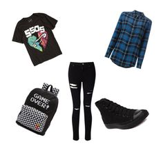 """5sos concert Mikey!Girl"" by michaelgcliffbar ❤ liked on Polyvore featuring Equipment, Miss Selfridge, Vans and Converse"