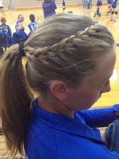 French braid into ponytail. I did it to a lot of the volleybal… French braid into ponytail. I did it to a lot of the volleyball girls for their hair! Looks great keeps your hair away! Athletic Hairstyles, Sporty Hairstyles, Girl Hairstyles, School Hairstyles, Wedding Hairstyles, Everyday Hairstyles, Cheer Hairstyles, Running Hairstyles, Teenage Hairstyles