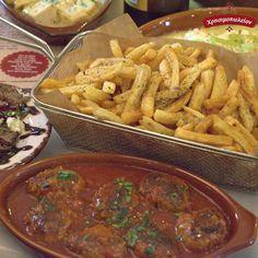 """😋 Ακόμα περισσότερο δε, όταν συνδυάζονται με πεντανόστιμο φαγητό! 🍴 Φρεσκοκομμένες από τα χεράκια μας, έτοιμες με αγάπη για το τραπέζι σου ώστε να τις """"βουτήξεις"""" σε κόκκινη σάλτσα ''Σμυρνιά'' με λαχταριστά, σπιτικά σουτζουκάκια!Μεζεδακια για ολα τα γουστα ! Μεζεδες για ουζο , για μπυρίτσα , για κρασάκι, για Οινόμελο ! ... Και φυσικά για κουβεντουλα ! Χρησιμοπωλείον στο Κερατσίνι του Πειραι Beef, Meals, Food, Power Supply Meals, Meal, Lunches, Yemek, Yemek, Steak"""